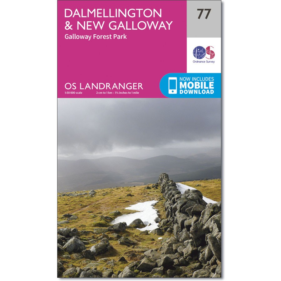 LR-077  Dalmellington to New Galloway   topografische wandelkaart 9780319261750  Ordnance Survey Landranger Maps 1:50.000  Wandelkaarten Zuid-Schotland