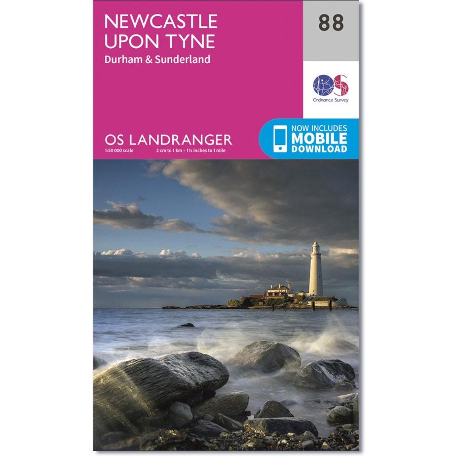 LR-088  Newcastle upon Tyne, Durham, Sunderland | topografische wandelkaart 9780319261866  Ordnance Survey Landranger Maps 1:50.000  Wandelkaarten Northumberland, Yorkshire Dales & Moors, Peak District, Isle of Man
