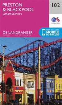 LR-102  Preston, Blackpool | topografische wandelkaart 9780319262009  Ordnance Survey Landranger Maps 1:50.000  Wandelkaarten Northumberland, Yorkshire Dales & Moors, Peak District, Isle of Man