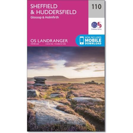 LR-110  Sheffield + Huddersfield, Glossop,Holmfirth | topografische wandelkaart 9780319262085  Ordnance Survey Landranger Maps 1:50.000  Wandelkaarten Northumberland, Yorkshire Dales & Moors, Peak District, Isle of Man