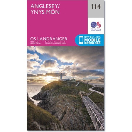 LR-114  Anglesey   topografische wandelkaart 9780319262122  Ordnance Survey Landranger Maps 1:50.000  Wandelkaarten Noord-Wales, Anglesey, Snowdonia