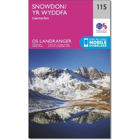 LR-115  Snowdon & surroundings | topografische wandelkaart 9780319262139  Ordnance Survey Landranger Maps 1:50.000  Wandelkaarten Noord-Wales, Anglesey, Snowdonia