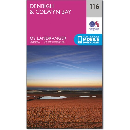 LR-116  Denbigh + Colwyn Bay | topografische wandelkaart 9780319262146  Ordnance Survey Landranger Maps 1:50.000  Wandelkaarten Noord-Wales, Anglesey, Snowdonia