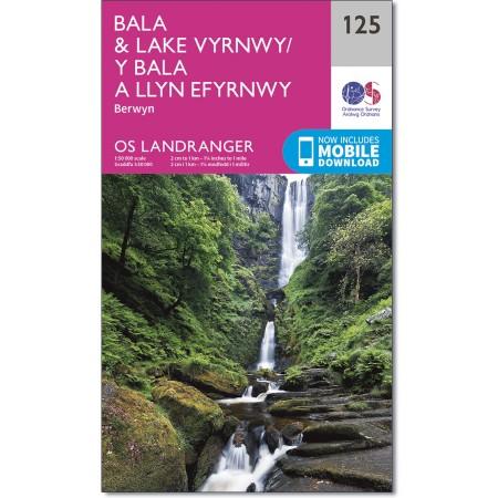 LR-125  Bala + Lake Vyrnwy, Berwyn   topografische wandelkaart 9780319262238  Ordnance Survey Landranger Maps 1:50.000  Wandelkaarten Noord-Wales, Anglesey, Snowdonia