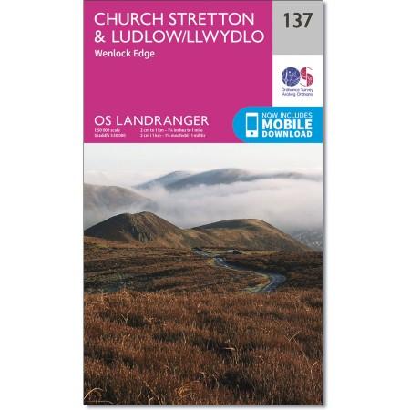 LR-137  Ludlow, Wenlock Edge | topografische wandelkaart 9780319262351  Ordnance Survey Landranger Maps 1:50.000  Wandelkaarten Noord-Wales, Anglesey, Snowdonia