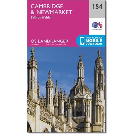 LR-154  Cambridge, Newmarket | topografische wandelkaart 9780319262528  Ordnance Survey Landranger Maps 1:50.000  Wandelkaarten Oost-Engeland, Lincolnshire, Norfolk, Suffolk, Cambridge