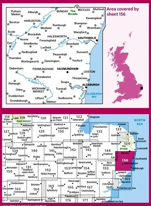 LR-156  Saxmundham, Aldeburgh | topografische wandelkaart 9780319262542  Ordnance Survey Landranger Maps 1:50.000  Wandelkaarten Oost-Engeland, Lincolnshire, Norfolk, Suffolk, Cambridge