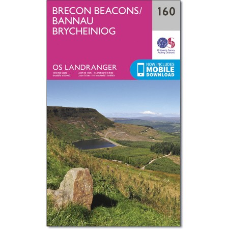 LR-160  Brecon Beacons | topografische wandelkaart 9780319262580  Ordnance Survey Landranger Maps 1:50.000  Wandelkaarten Zuid-Wales, Pembrokeshire, Brecon Beacons
