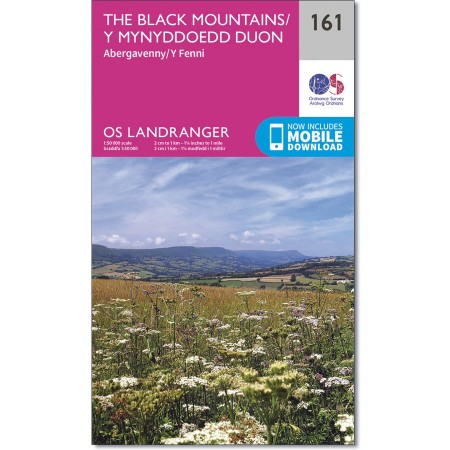 LR-161 The Black Mountains | topografische wandelkaart 9780319262597  Ordnance Survey Landranger Maps 1:50.000  Wandelkaarten Zuid-Wales, Pembrokeshire, Brecon Beacons
