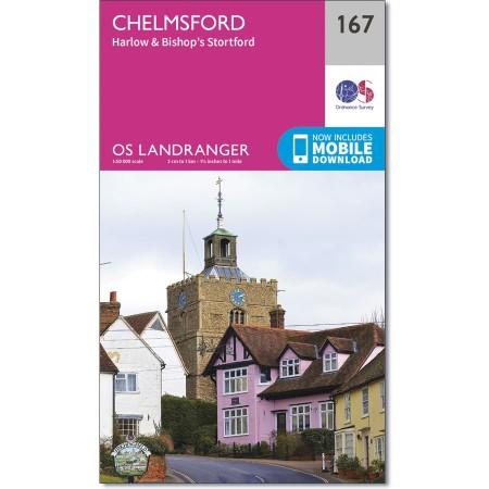 LR-167  Chelmsford | topografische wandelkaart 9780319262658  Ordnance Survey Landranger Maps 1:50.000  Wandelkaarten Oost-Engeland, Lincolnshire, Norfolk, Suffolk, Cambridge