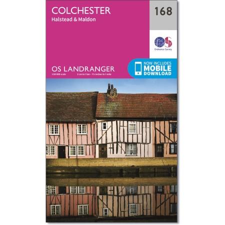 LR-168  Colchester + The Blackwater | topografische wandelkaart 9780319262665  Ordnance Survey Landranger Maps 1:50.000  Wandelkaarten Oost-Engeland, Lincolnshire, Norfolk, Suffolk, Cambridge