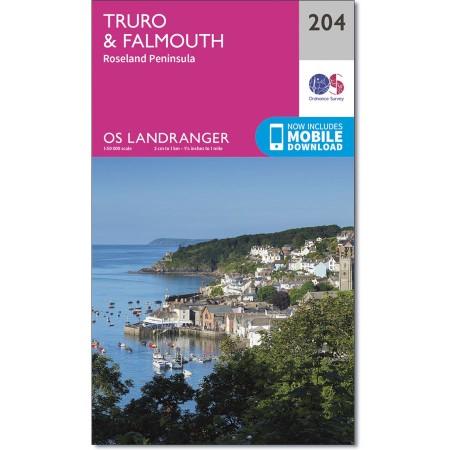 LR-204  Truro + Falmouth | topografische wandelkaart 9780319263020  Ordnance Survey Landranger Maps 1:50.000  Wandelkaarten Zuidwest-Engeland, Cornwall, Devon, Somerset, Dorset