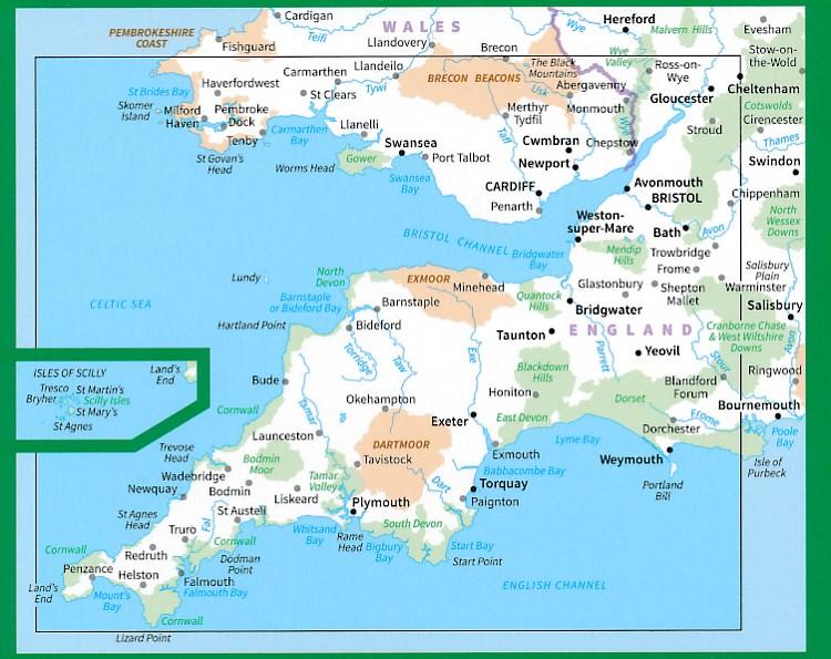 Rm 7 South West England South Wales Wegenkaart 9780319263495