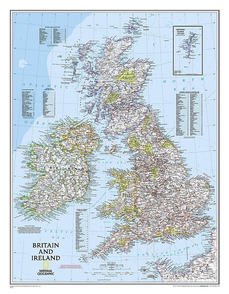 Britain + Ireland -  flat map in tube 9780792249559  National Geographic NG planokaarten  Wandkaarten Britse Eilanden