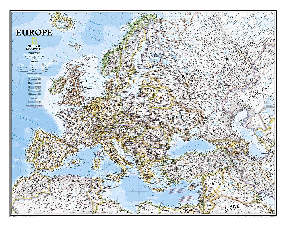 [06a]  Europe gelamineerd, 1:8.400.000 9780792250166  National Geographic NG planokaarten  Wandkaarten Europa