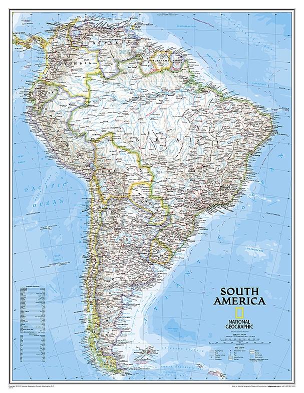 Zuid-Amerika 1:11.000.000 9780792281078  National Geographic NG planokaarten  Wandkaarten Zuid-Amerika (en Antarctica)