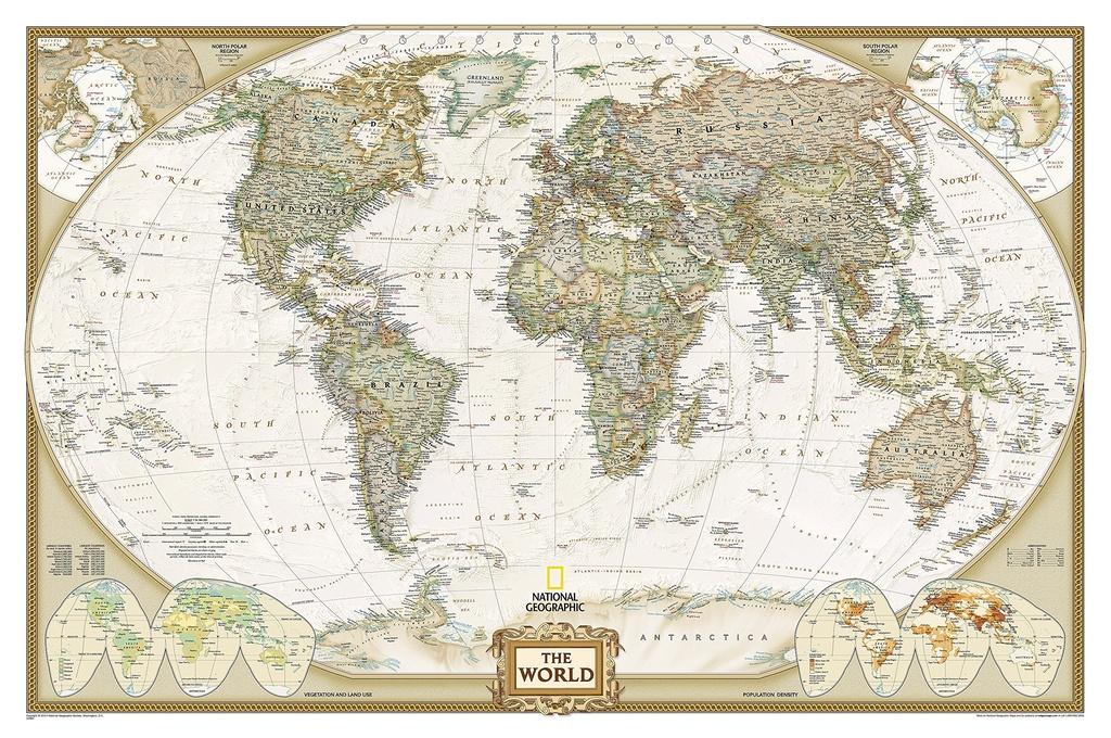 [19] World Political Antique 36mln GEPLASTIFICEERD 9780792283256  National Geographic Soc. NG planokaarten  Wandkaarten Wereld als geheel