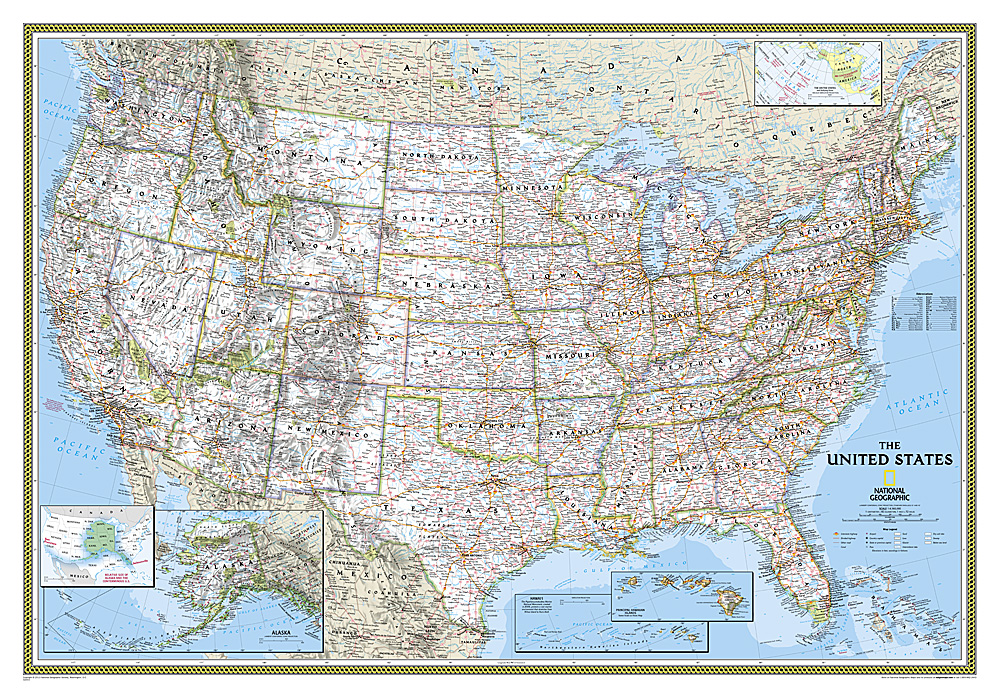 USA Political Standard Map 9780792293187  National Geographic NG planokaarten  Wandkaarten Verenigde Staten