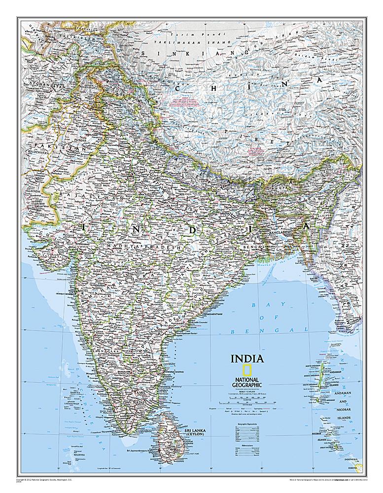 India 1:5.500.000 (planokaart) 9781597750660  National Geographic NG planokaarten  Wandkaarten India