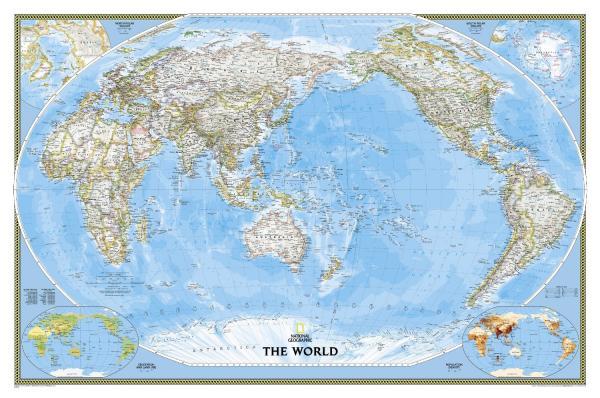 [24] World Political Pacific Centered |78 x 117cm 9781597751148  National Geographic NG planokaarten  Wandkaarten Wereld als geheel