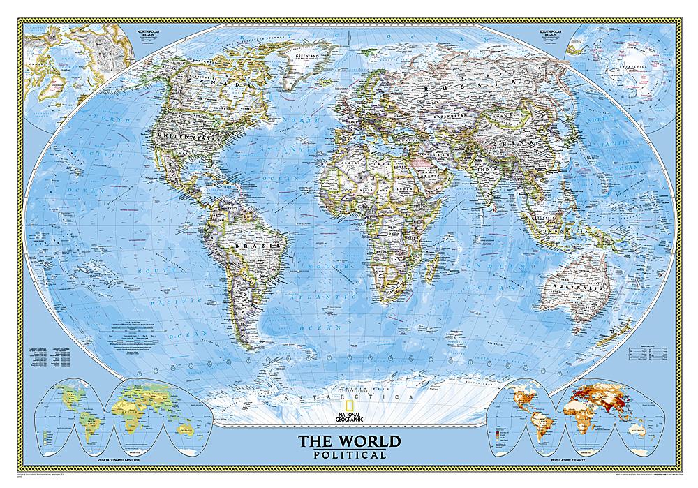 [03] World Political 1:45.000.000 9781597752138  National Geographic NG planokaarten  Wandkaarten Wereld als geheel
