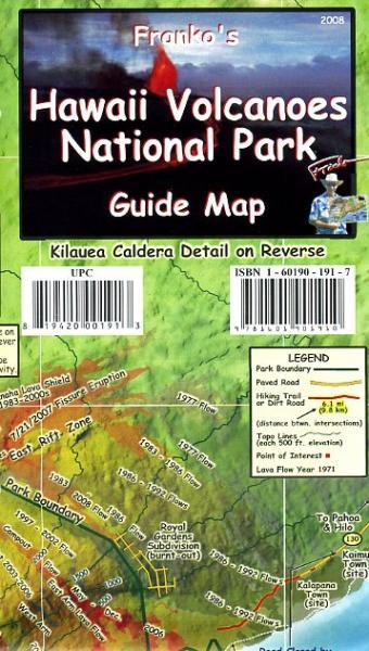 Hawaii Volcanoes National Park, Kilauea Crater 1:16.500 9781601901910  Franko's Maps Wandelkaarten USA  Wandelkaarten Hawaii