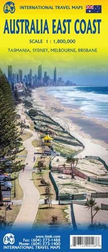East Coast Australia   landkaart, autokaart 1:1.800.000 9781771290128  ITM   Landkaarten en wegenkaarten Australië