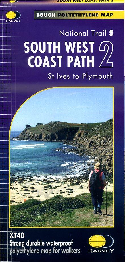 South West Coast Path (2) | wandelkaart 1:40.000 9781851375554  Harvey Maps   Meerdaagse wandelroutes, Wandelkaarten Zuidwest-Engeland, Cornwall, Devon, Somerset, Dorset