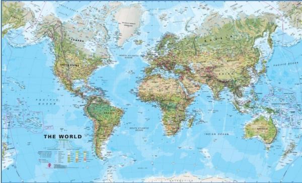 The World Environmental | Wereld Natuurkundig (fysisch) 1:30.000.000 9781904892519  MAPS International   Wandkaarten Wereld als geheel