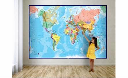 Wereldkaart 1:14.000.000 9781904892625  MAPS International   Wandkaarten Wereld als geheel