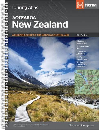New Zealand Touring Atlas 1/380.000 9781925625035  Hema Maps Wegenatlassen  Wegenatlassen Nieuw Zeeland