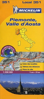 351 Piemonte, Valle d'Aosta | Michelin  wegenkaart, autokaart 1:200.000 9782067127135  Michelin Michelin Italië 1:200.000  Landkaarten en wegenkaarten Ligurië, Piemonte, Lombardije