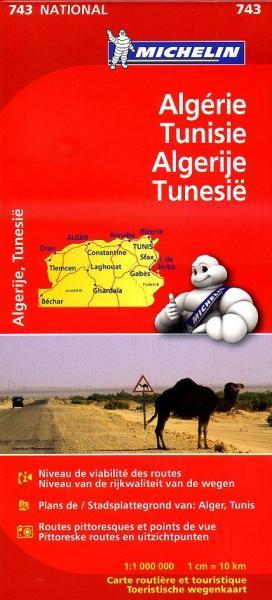 743 Algerije, Tunesie 1:1.000.000 9782067172302  Michelin   Landkaarten en wegenkaarten Algerije, Tunesië, Libië