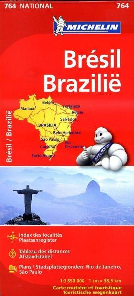 764  Brazilië 1:3.850.000 9782067173491  Michelin   Landkaarten en wegenkaarten Brazilië