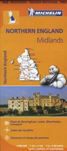 502 Engeland, Noord-/ Midlands   Michelin  wegenkaart, autokaart 1:400.000 9782067183230  Michelin   Landkaarten en wegenkaarten Northumberland, Yorkshire Dales & Moors, Peak District, Isle of Man