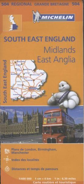 504 Engeland, Z.O   Michelin  wegenkaart, autokaart 1:400.000 9782067183322  Michelin   Landkaarten en wegenkaarten Engeland