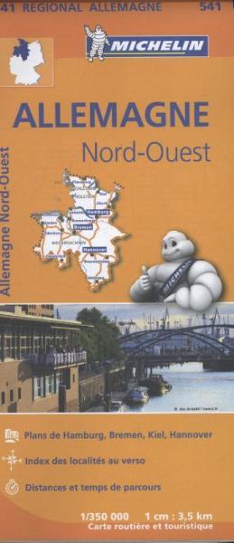 541 Sleeswijk-Holstein en Nedersaksen 1:350.000 wegenkaart 9782067183520  Michelin Mich. Region. Krtn. Dtsl.  Landkaarten en wegenkaarten Duitsland
