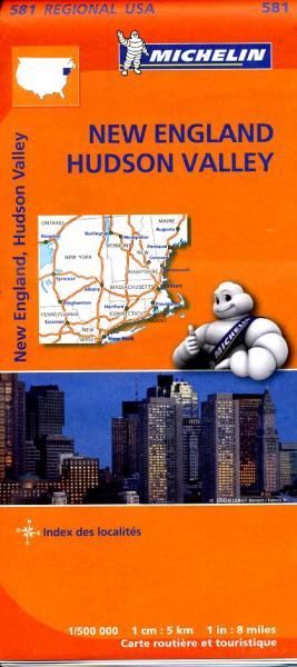 581  New England 1:500.000 9782067184527  Michelin Michelinkaarten USA  Landkaarten en wegenkaarten New England