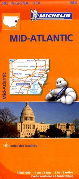 582  Mid-Atlantic / Allegheny 1:500.000 9782067184565  Michelin Michelinkaarten USA  Landkaarten en wegenkaarten New York, Pennsylvania, Washington DC