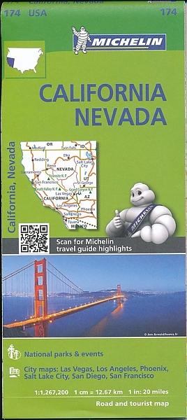 174  California & Nevada 1:1.267.200 9782067190528  Michelin Michelinkaarten USA  Landkaarten en wegenkaarten California, Nevada