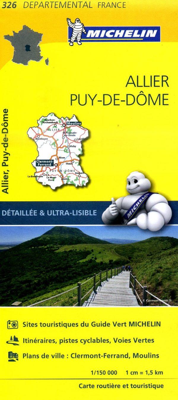 326  Allier, Puy-de-Dôme   wegenkaart, fietskaart 1:150.000 9782067202283  Michelin Local / Departementskaarten  Landkaarten en wegenkaarten Auvergne, Cantal, Forez