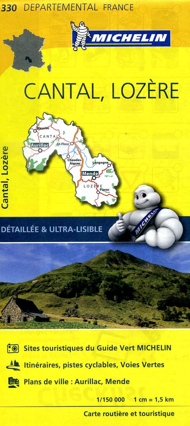 330  Cantal, Lozère   wegenkaart, fietskaart 1:150.000 9782067202320  Michelin Local / Departementskaarten  Landkaarten en wegenkaarten Ardèche, Cevennen, Auvergne, Cantal, Forez