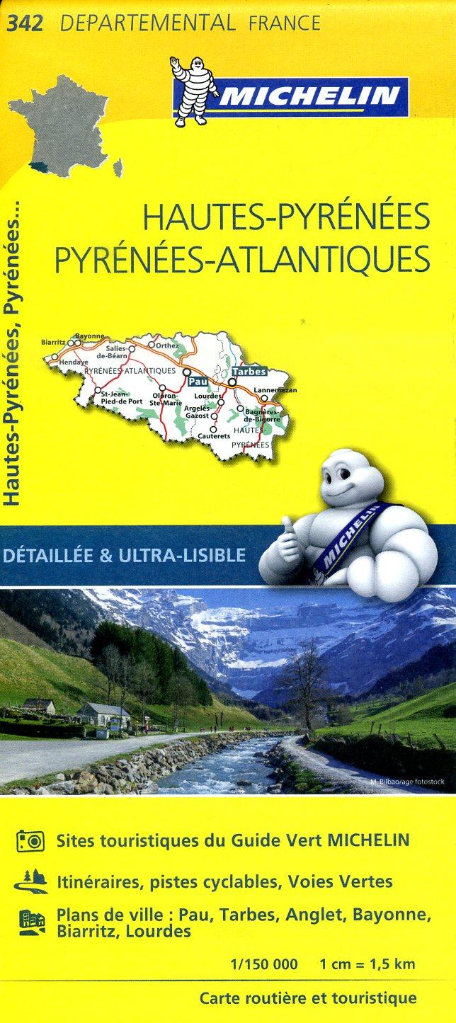 342  Hautes-Pyrénées, Pyrénées Atlantiques   wegenkaart, fietskaart 1:150.000 9782067202443  Michelin Local / Departementskaarten  Landkaarten en wegenkaarten Franse Pyreneeën, Toulouse, Gers, Garonne
