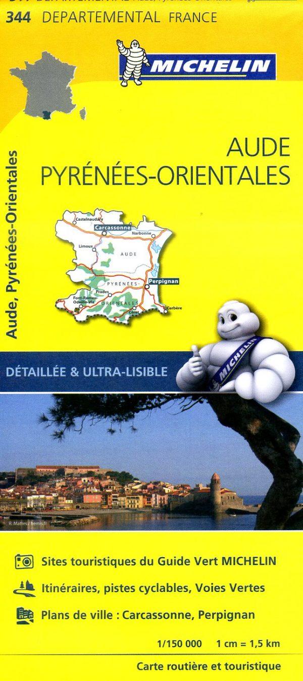 344  Aude, Pyrénées-Orientales   wegenkaart, fietskaart 1:150.000 9782067202467  Michelin Local / Departementskaarten  Landkaarten en wegenkaarten Franse Pyreneeën, Toulouse, Gers, Garonne