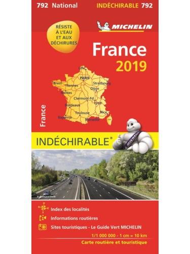 792  Frankrijk 1:1.000.000 2019 onverscheurbaar 9782067236936  Michelin Michelinkaarten Jaaredities  Landkaarten en wegenkaarten Frankrijk