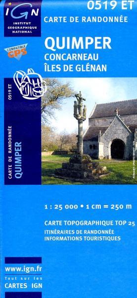 0519ET  omgeving Quimper, Concarneau | wandelkaart 1:25.000 9782758505273  IGN TOP 25  Wandelkaarten Bretagne