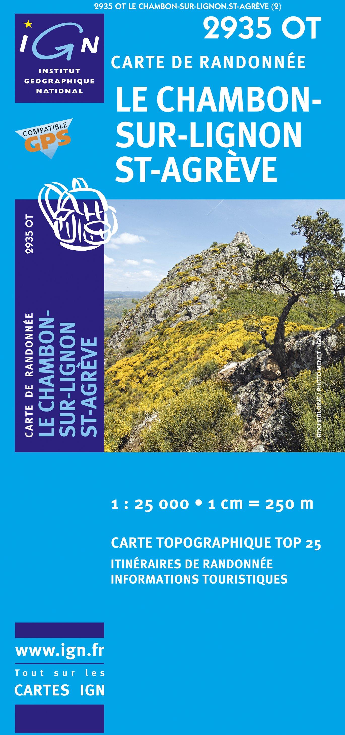 2935OT Le Chambon-sur-Lignon, St-Agèvre   wandelkaart 1:25.000 9782758513919  IGN TOP 25  Wandelkaarten Auvergne, Cantal, Forez