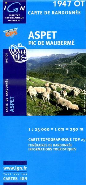1947OT Aspet. Pic de Mauberme   wandelkaart 1:25.000 9782758516316  IGN TOP 25  Wandelkaarten Franse Pyreneeën, Toulouse, Gers, Garonne