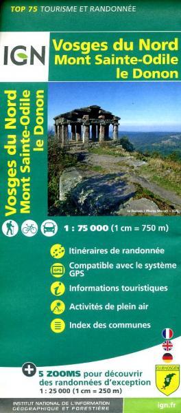 Vosges du Nord | IGN 1:75.000 9782758529040  IGN TOP 75  Fietskaarten, Lopen naar Rome, Wandelkaarten Vogezen