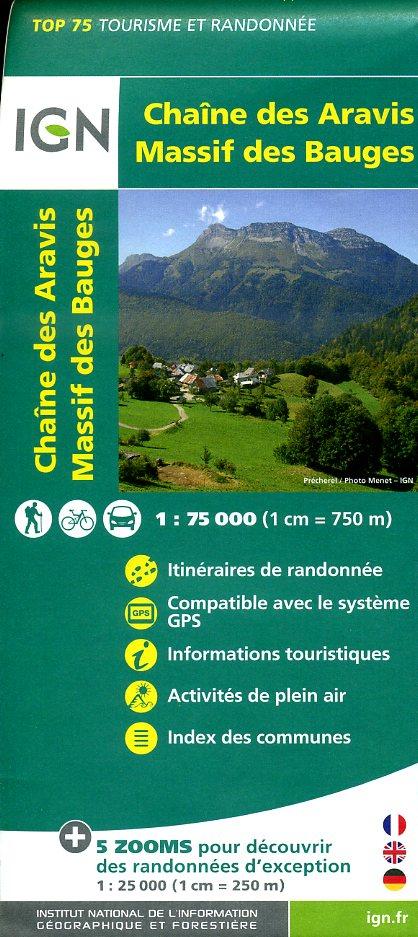 Chaîne des Aravis - Massif des Bauges |  IGN 1:75.000 9782758531500  IGN TOP 75  Landkaarten en wegenkaarten, Wandelkaarten Haute Savoie, Mont Blanc